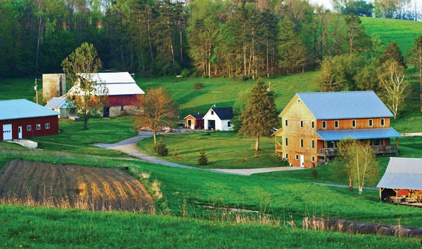 A pretty, peaceful farm complex.  What we think of when we think of organic food.